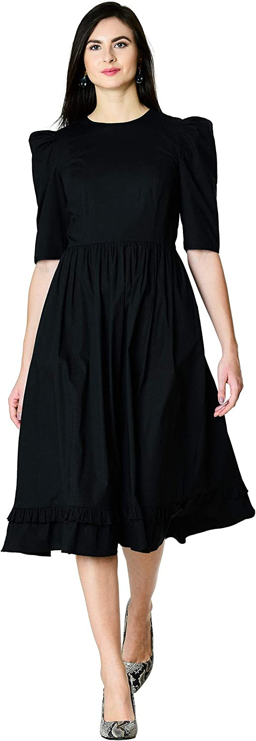 1940s Dress Styles eShakti Womens Ruffle hem cotton poplin dress £52.95 AT vintagedancer.com