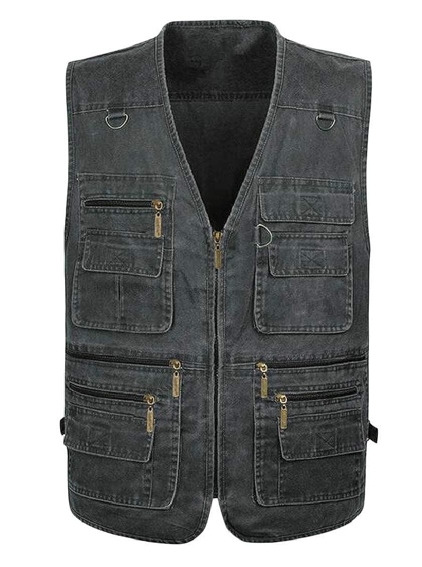 Sweatwater Men Multi-Pockets Denim Zipper Plus Size Photo Sleeveless Vest Jackets