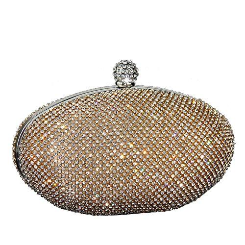 Ladies Shimmering Clutch Diamante UNYU Purse Gold Bridal Evening Prom Party Bags Crystal USqwgRgx