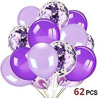 HOWAF 62 Piezas Globos de Confeti de p¨²rpura