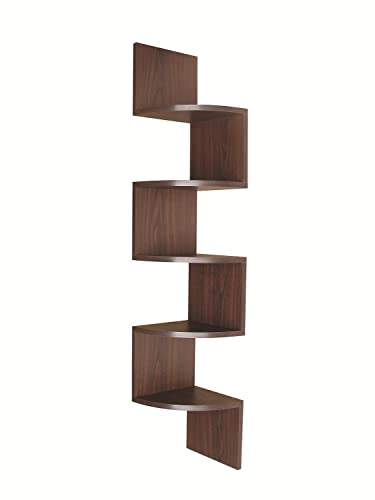 EWEI S HomeWares 5 Tier Large Corner Wall Mount Shelf,New Walnut