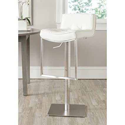 Astounding Safavieh Home Collection Newman White Leather Adjustable Gas Lift 24 8 34 2 Inch Bar Stool Lamtechconsult Wood Chair Design Ideas Lamtechconsultcom