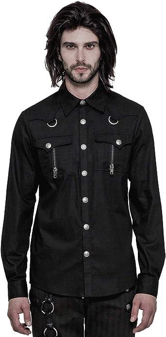 Camisa de Manga Larga gótica Punk para Hombre: Amazon.es: Ropa y accesorios