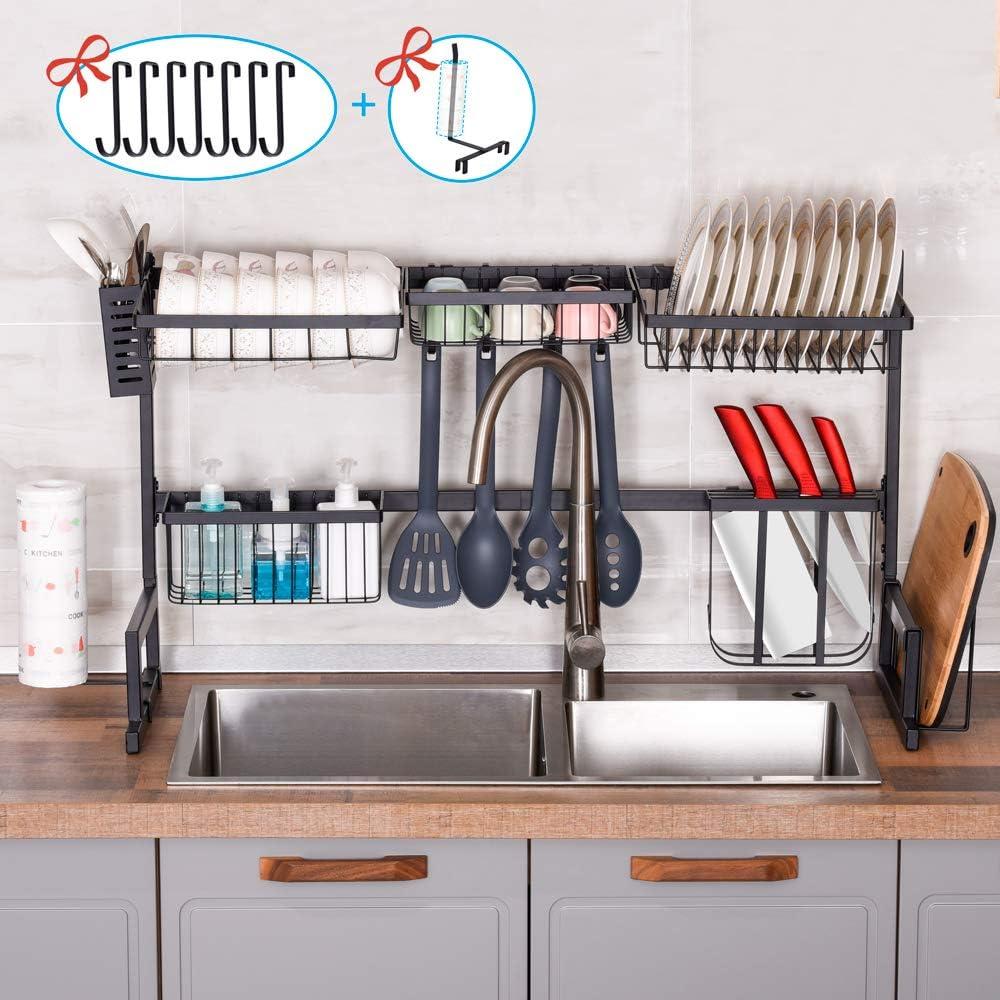 Over the Sink Dish Drying Rack,2 Tier Dish Rack Kitchen Utensil Holder,Dish Drainer Kitchen Organization and Storage,Kitchen Counter Orgainzer with 7 Utility Hooks,Stainless Steel Paint Kitchen Rack