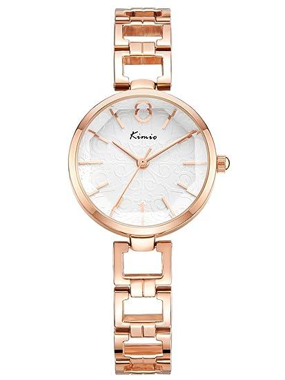 Alienwork Reloj Mujer Relojes Acero Inoxidable Oro Rosa Analógicos Cuarzo Blanco Impermeable Elegante Purpurina