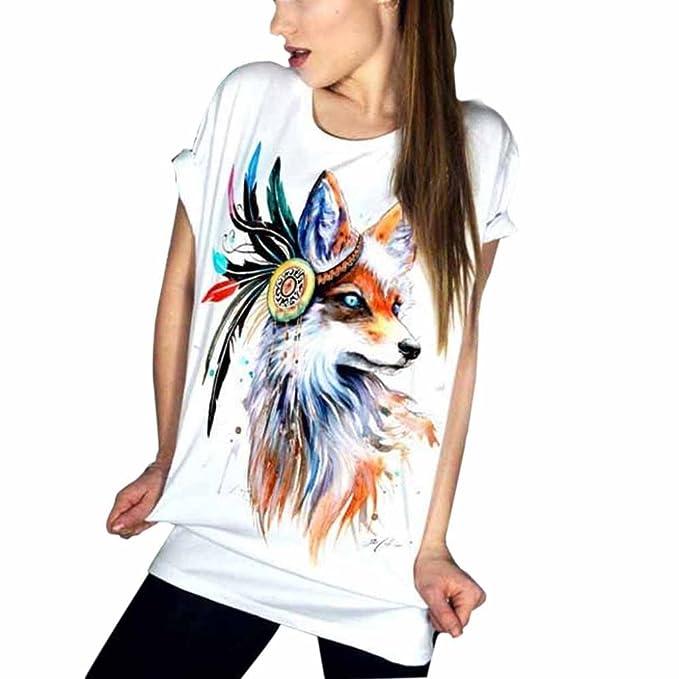 Amlaiworld Damen Sommer Mode bunt Tier Blumen t-Shirt Damen Frühling  Freizeit locker pullis Strand eb9554764b
