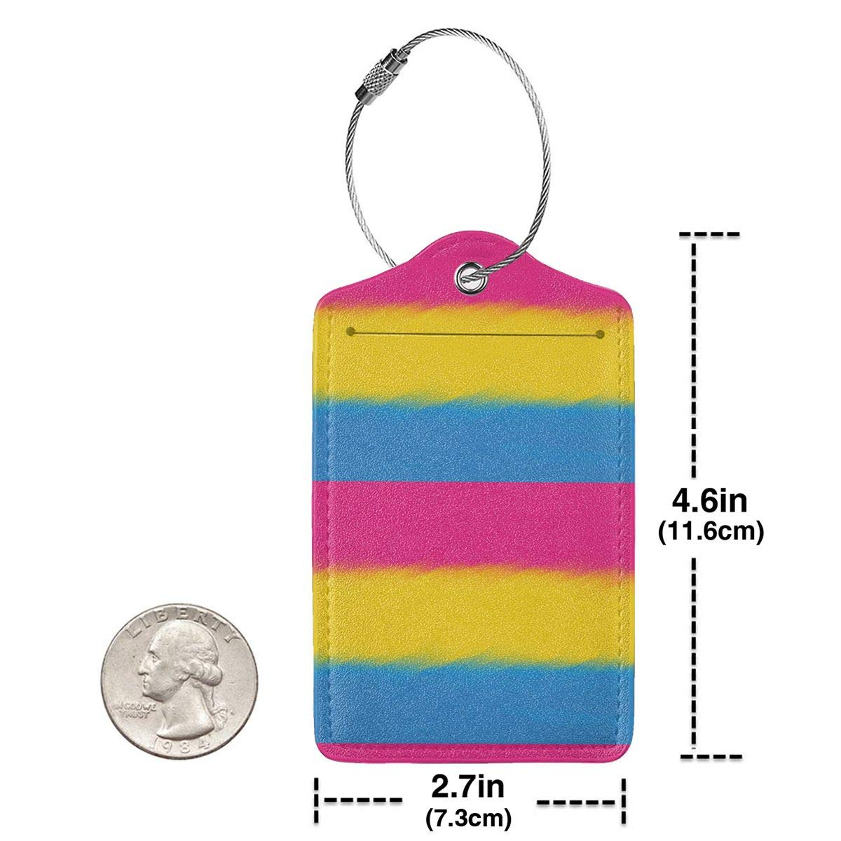 Pansexuality Flag 2.7 x 4.6 Blank Tag Leather Luggage Tags Full Privacy Cover and Stainless Steel Loop 1 2 4 Pcs Set Key Tags for Christmas Birthday Couples Gift