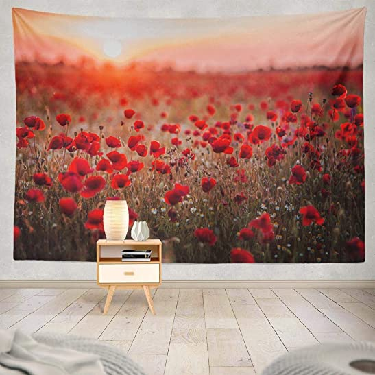Red Poppie Tapestry,Flower Tapestry,Wall Hanging Beautiful Field Sunset Light Russia Poppy Field Red Russia Wall Tapestry for Bedroom Living Room Tablecloth Dorm 80X60 Inches