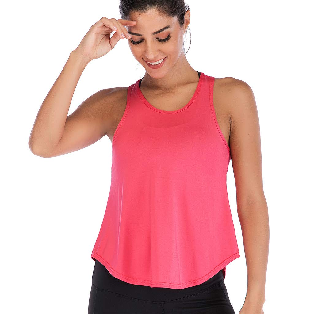 Mlide Womens Womens Summer Solid Color Shirts Sleeveless Casual Racerback Workout Tank Tops Watermelon Red by Mlide (Image #3)