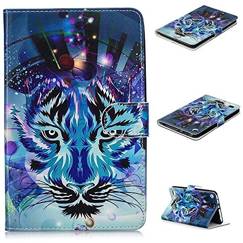 Designs Emboss - Case for All-New Amazon Fire 7 Tablet, GNT Emboss Print Design Premium PU Leather Flip Wallet Case with Auto Wake/Sleep for Fire 7 Tablet [7th Generation 2017 / 5th Generation 2015] (Tiger)