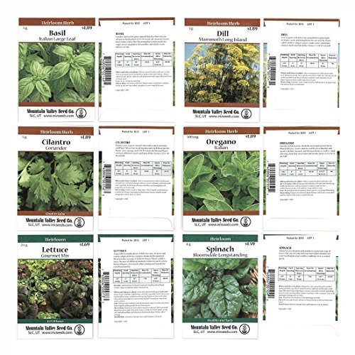 Heirloom Seed Assortment - Collection of 30 Non-GMO, Easy Grow, Gardening Seeds: Vegetable, Fruit, Herb & Flower - Open Pollinated - Radish, Pumpkin, Dill, Eggplant, Sunflower, More