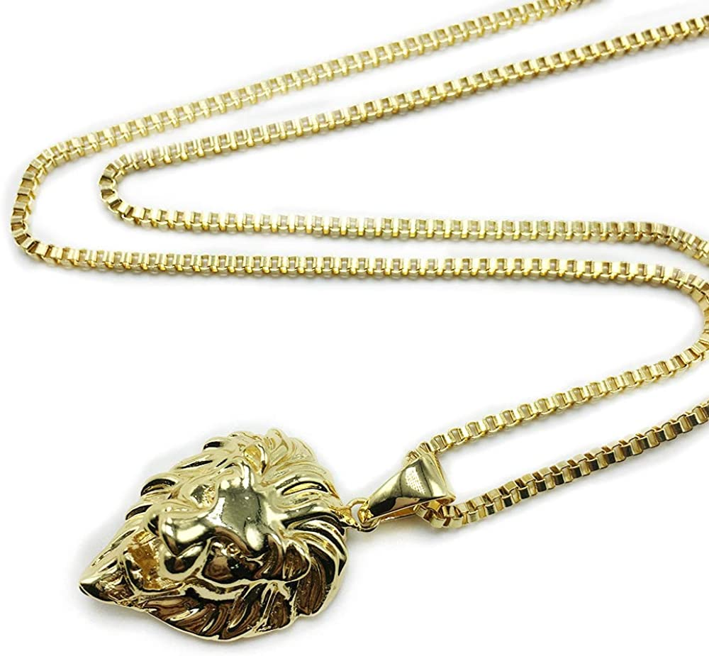 """Small lion head pendant necklace for men woman gold hip hop pendant box chain necklace gold stainless steel 24"""""""