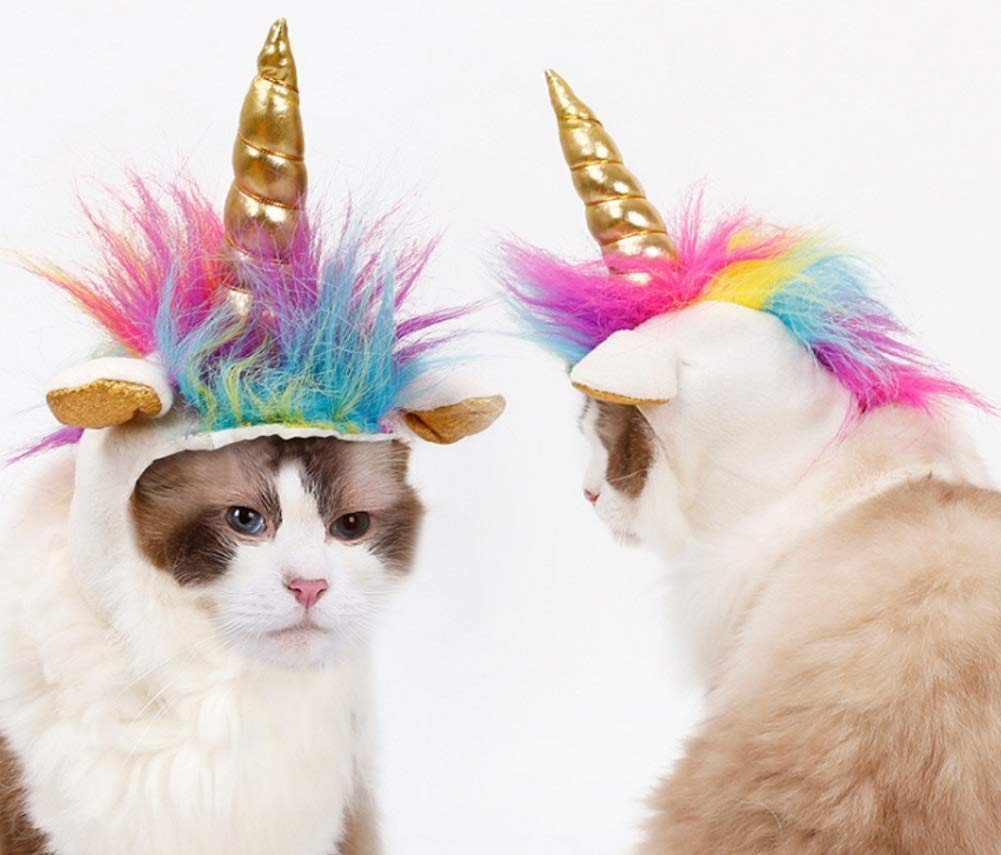 Stock Show Cat Unicorn Hat Unicorn Costume for Small Dog Cat Puppy Novel Funny Adjustabale Cosplay Mane Hat Headgear for… 7