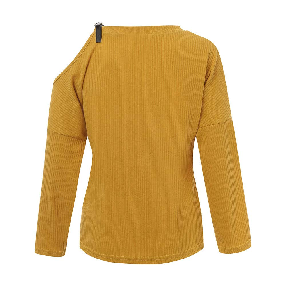 Rambling New Womens Cold Shoulder Tops Long Sleeve Casual Blouse Loose Pullover