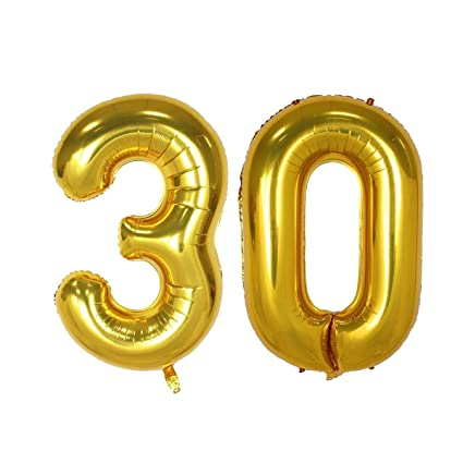 40inch Gold Number 30 Balloon Party Festival Decorations Birthday Anniversary Jumbo Foil Helium Balloons Supplies