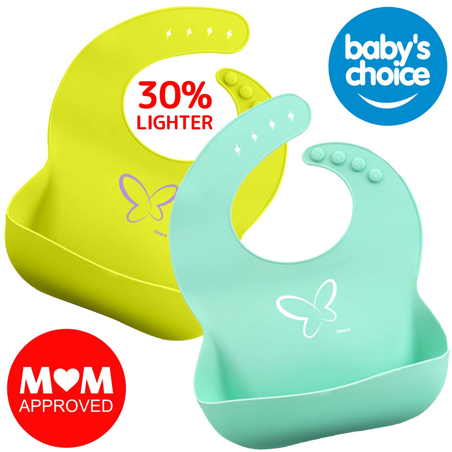 Baby Silicone Bib for Girls and Boys-Toddlers-Waterproof-Easly Wipe Clean w/Deep Food Catcher Pocket-BPA Free- Prevents Food Stain-Messy Floor-Reduces Laundry-Awesome Unisex Baby Shower Gift Set of 2 by Babie B