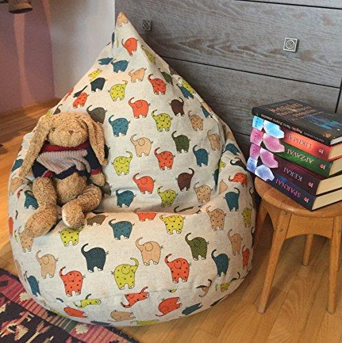 Bean Bag Chair Linen Cover Kids Beanbag Elephant Print Natural Fabrics Birthday or Housewarming Gift Decor for Kids Room Colorful beanbag
