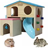 kathson Pet Small Animal Hideout Hamster House with Funny Climbing Ladder Slide Wooden Hut Play Toys Chews for Small Animals