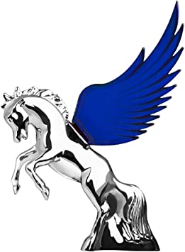 GG Grand General 48391 Blue 6.5 X 7.5 inches Chrome Fighting Stallion Hood ORN w Windriders