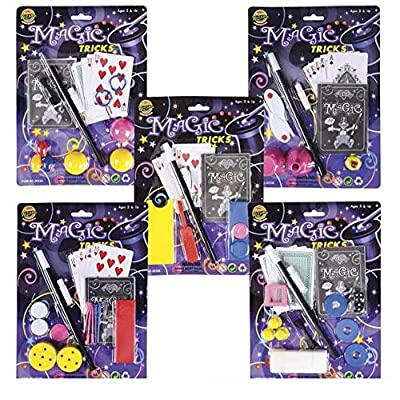 SRENTA Magic Play Set, 6 Pieces Magic Equipment, Wand, Deck of Cards, String, Ideal Birthday Present to Aspiring Illusionists, Magic Tricks Set for Kids & Adults, Pack of 12: Toys & Games