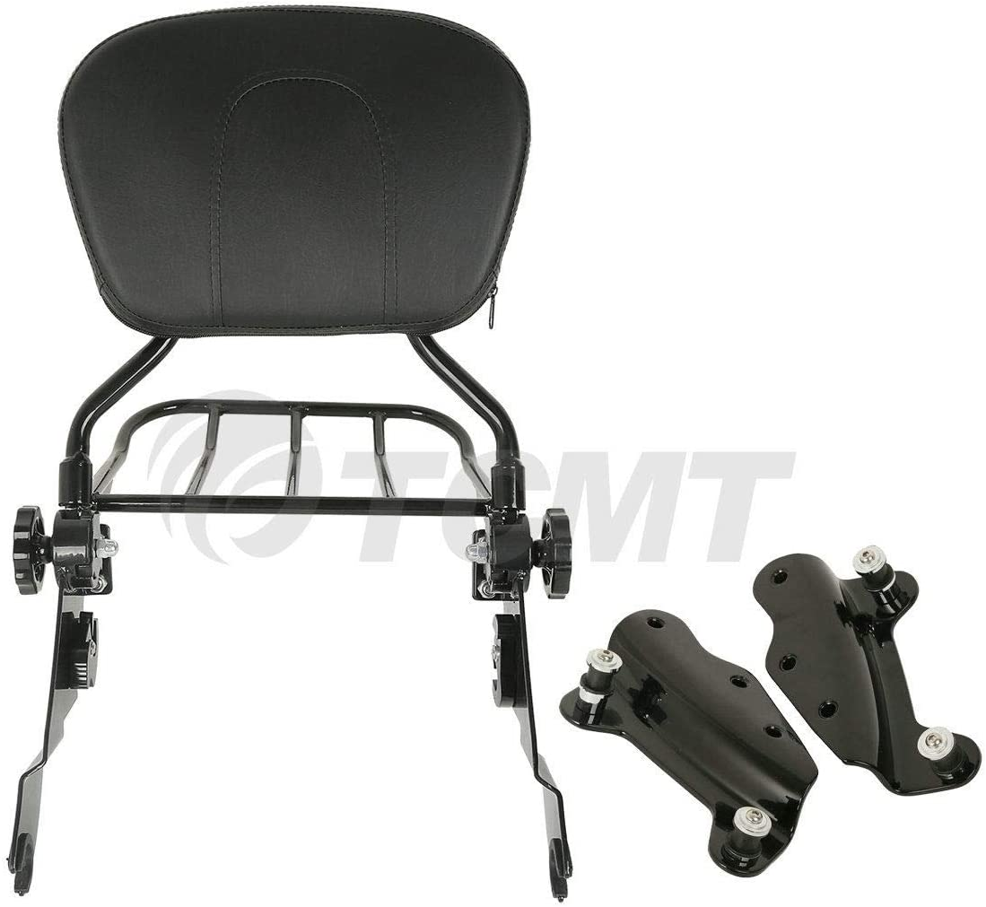 AUFER Chrome Detachable Backrest Sissy Bar Upright Passenger Backrest w//Pad 4-Point Docking Hardware Kit and Air Wing Two Up Luggage Rack For Touring 2014-2020