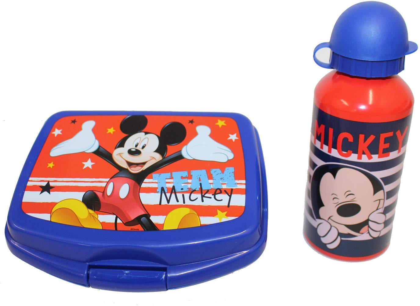 Disney Micky Maus Brotdose Aluminium Trinkflasche Frühstück Set Cartoons & Comics