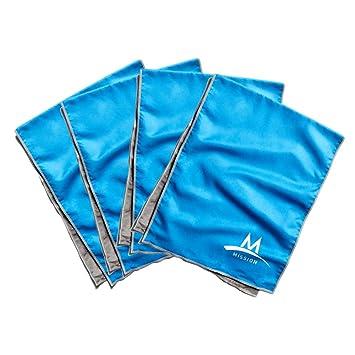 Misión de refrigeración Toalla Multi Familia Pack Incluye 4 Large Plus Toallas de refrigeración, Unisex, Azul: Amazon.es: Deportes y aire libre