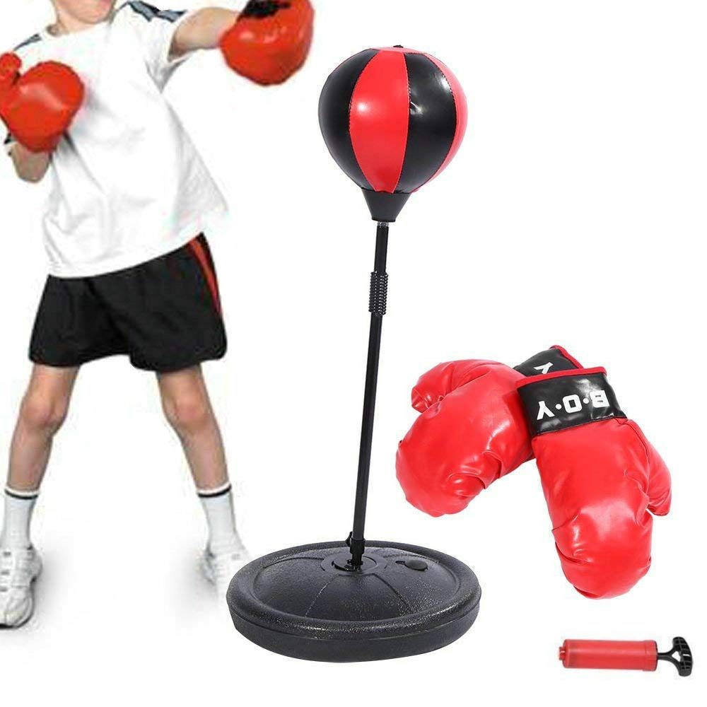 Kids Standing Boxing Speed Ball Set, Children Boxing Punching Bag with Fighting Gloves Pump Height Adjustable Yosoo®