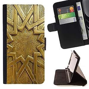 For Sony Xperia Z2 D6502 Case , Oro del emblema del metal misterio antiguo Sun- la tarjeta de Crédito Slots PU Funda de cuero Monedero caso cubierta de piel