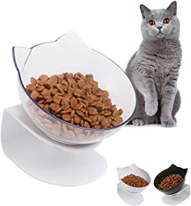 Cat Bowls Cat Dog Food Bowls, Creative Non-Slip Base Bowl Dog Bowl Cat Bowl for Food Water with Raised Stand, 15° Tilted Pet Bowl Stress-Free Suit for Dogs Cats Rabbits
