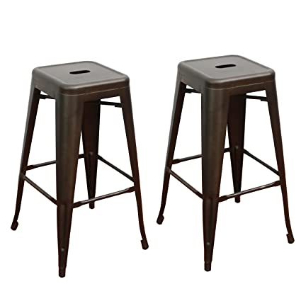 Amazoncom Adeco Tolix Style Metal Stackable High Counter Barstools