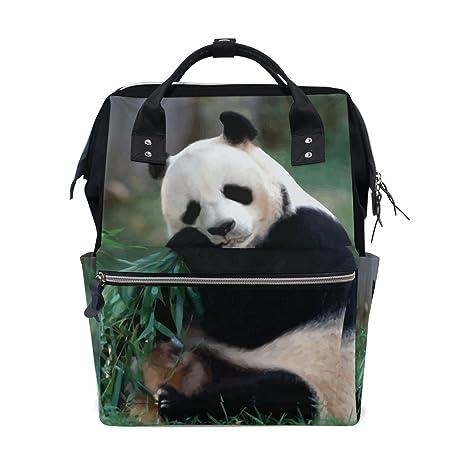 Giant Panda - Mochila de bambú para pañales de bebé, con hojas de bambú,