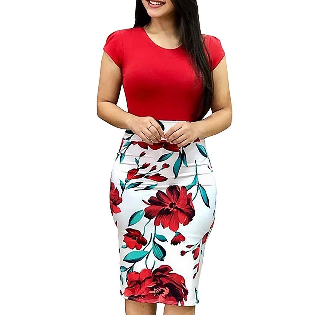 Vintage Womens Bodycon Pencil Dresses Short Sleeve Floral Printed Bandage Midi Dress Elegant Party Knee Length Dress Red
