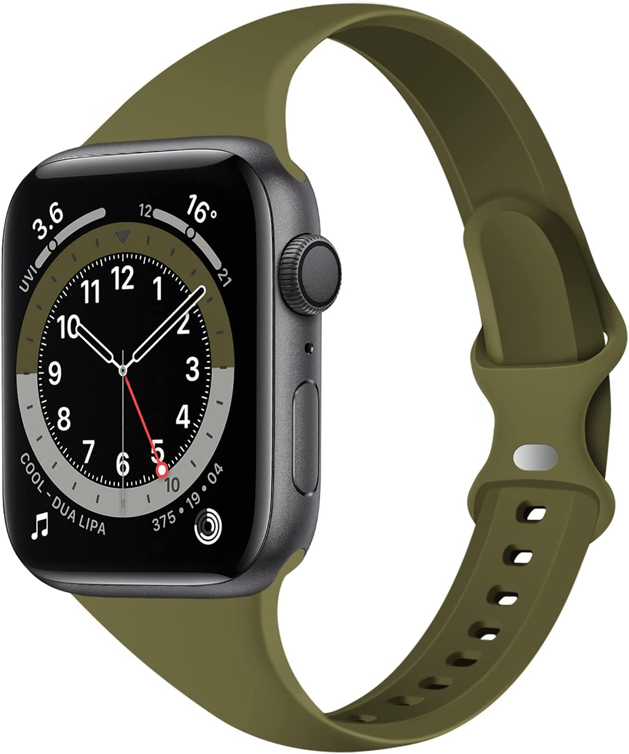 Acrbiutu Bands Compatible with Apple Watch 38mm 40mm, Slim Thin Narrow Replacement Silicone Sport Strap for iWatch SE Series 1/2/3/4/5/6, Olive Green 38mm/40mm