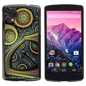 Qstar Arte & diseño plástico duro Fundas Cover Cubre Hard Case Cover para LG Google NEXUS 5 / E980 /D820 / D821 ( Colorful Oriental Futuristic Art Painting Wallpaper)