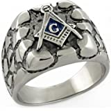 YourJewellerybox TK778N MENS SIGNET RING STAINLESS STEEL MASONIC PINKY NUGGET NO TARNISH LASTING