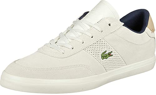 Lacoste - Zapatillas de Piel Lisa para Hombre Blanco Off White/Natural, Color Blanco, Talla 45 EU: Amazon.es: Zapatos y complementos