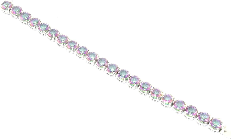 Pulsera hecha a mano de PH de plata de ley 925 con piedras de topacio místico arcoíris