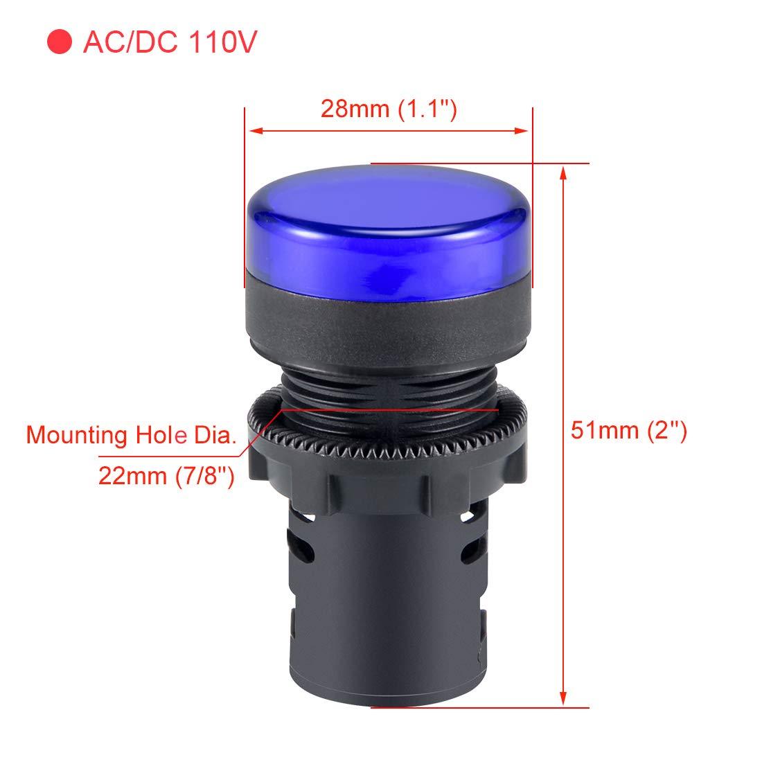 VictorsHome Indicator Light AC//DC 12V 20mA LED Flush Panel Mount Blue 10 Pcs