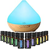 Anjou Essential Oil Diffusers Set, 300ML Ultrasonic Aroma Oil Diffuser with Top 12 Pure Natural & Therapeutic Grade Essential