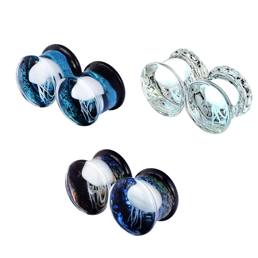 PHD LTD 6Pcs White&Darkblue&Lightblue Jellyfish Glass Ear Plugs Tunnels Stretcher Expander Gauge 00g