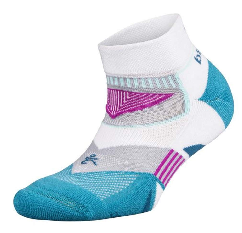 Balega Women's Enduro Low Cut Socks (1 Pair), White/Lake Blue, Medium by Balega (Image #1)