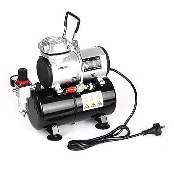 SYH01 Compresor de Aire pulverizado con Tanque 1/6 HP Pistón aerógrafo sin Aceite Quiet Pistola de Pintura Kit de Limpieza: Amazon.es: Hogar