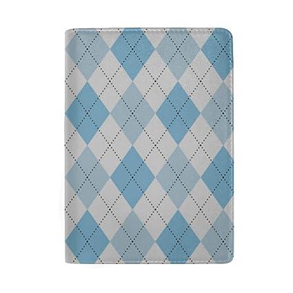 Blue Lozenge Cuadriculado Bloqueo Imprimir Pasaporte Titular ...