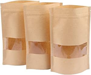 Katfort 100PCs Zip Lock Stand Up Kraft Paper Food Storage Bags Pouch with Window & Tear Notch, 7.9