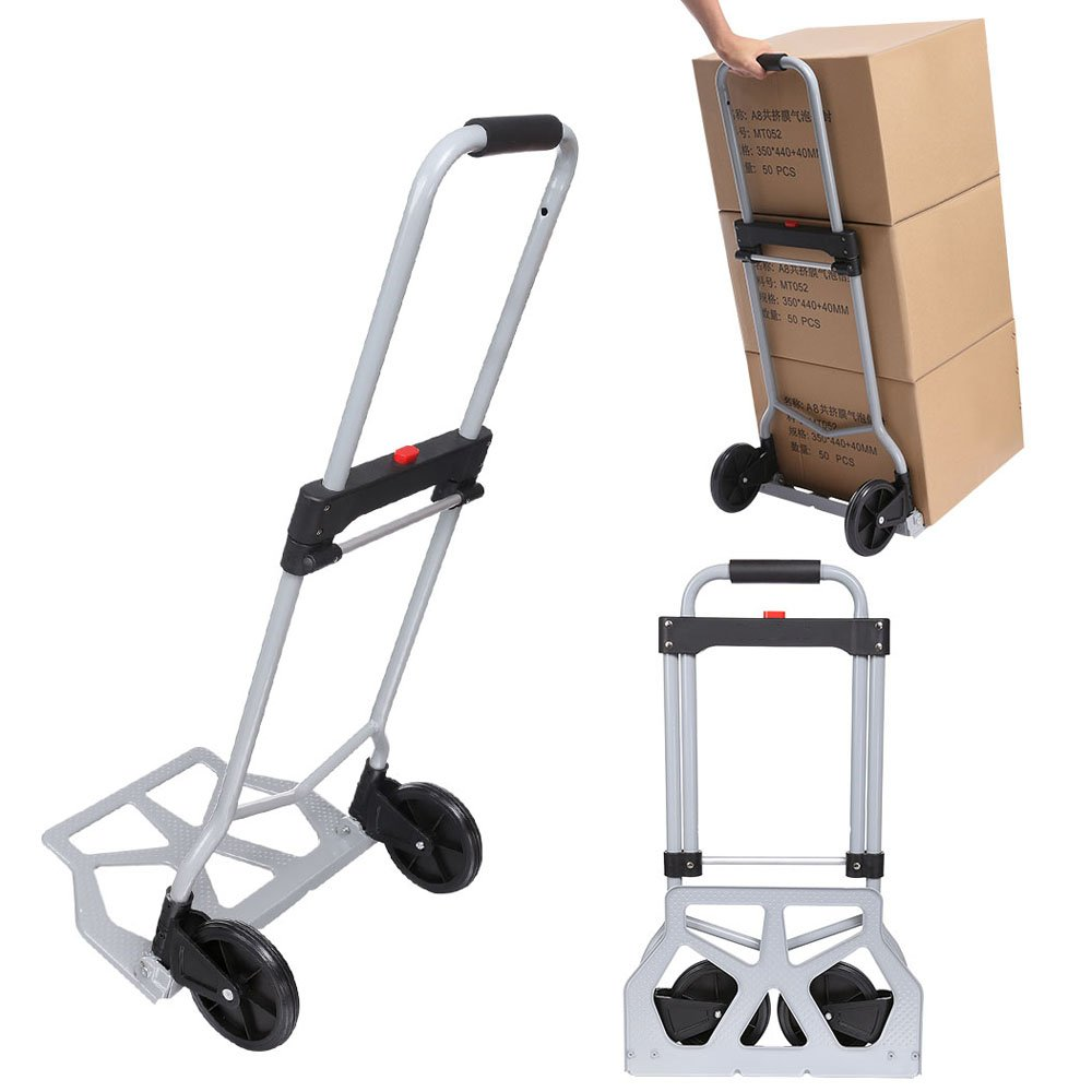Creine 220lbs Capacity Folding Hand Truck, Portable Aluminum Multi-Function Cart Foldable Luggage Trolley Dolly Fold Up Hand Truck for Shopping/Travel/Industrial (US Stock)