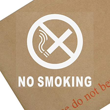 6 X No Smoking Window Stickers With Text Self Adhesive Warning Signs