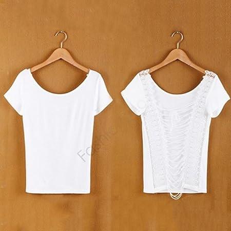 iumer camiseta de manga corta camisas mujer espalda hueca con ...