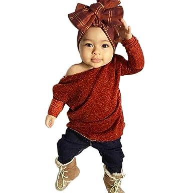 14b0f78b76162 Lanhui_1Set Sunny Baby Girls Outfit Cloth Knitting Tops T-Shirt+Long Pants For  2017