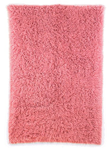 - Super Area Rugs Cozy Collection-Flokati Wool Shag Rug (Soft Pink, 5ft. X 7ft.)